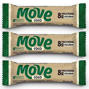 Barra Vegana de Proteína Move sabor Coco Hart's - 3 unidades
