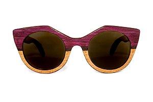 Óculos de madeira feminino Anari - Roxinho