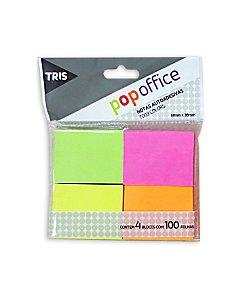 Bloco Adesivo Pop Office Tris 38 X 51mm 4 cores