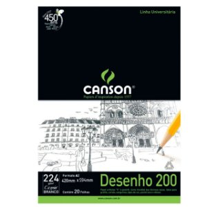 Bloco Desenho Canson A2 420mm X 594mm 224G 20F Branco