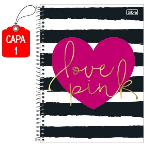 Caderno Universitário Love Pink 16 Matérias 320 Folhas Tilibra