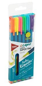 Caneta Colorida Tris Liqeo Tons Neon com 6 Cores