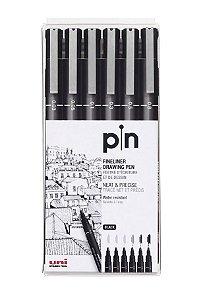 Caneta Nankin Uniball Uni-Pin Estojo com 6 Pontas