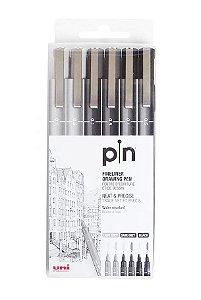 Caneta Nankin Uniball Uni-Pin Estojo com 6 Pontas (3 Pretas e 3 Cinzas)