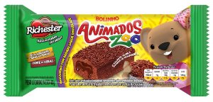 Bolo Richester Animados Zoo Brigadeiro e Chocolate 40g