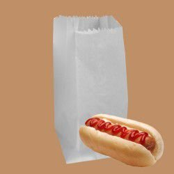 Saco de Papel Hot Dog Kraft Branco C/500