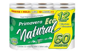Papel Hig. Primavera Eco Natural 60m 4x12