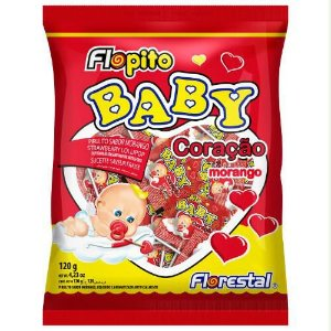 Pirulito Baby Coração Morango PCT 50 UNI