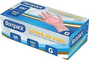 Luva Vinil Bompack C/ Pó Tamanhos Cx C/100