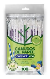 Canudo De Papel Bompack 6mmx26cm  C/25