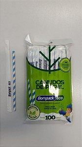 Canudo De Papel Bompack Sache Branco e Azul 6mmx19,7cm C/100