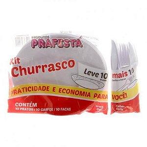 Kit Churrasco Branco Talheres e Prato C/10