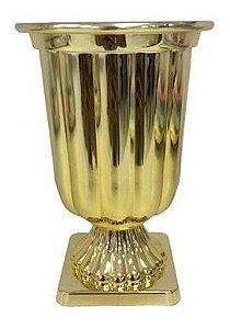 Vaso Plástico Decorativo Metalizado Médio Cores Uni