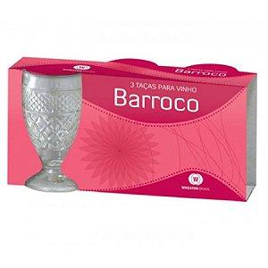 Taças Barroco P/ Vinho C/3 Pçs