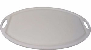 Tábua de Corte Plástica Oval Branca 8x224x364mm