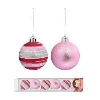 Bola de Natal Pink c/ Risco 7cm