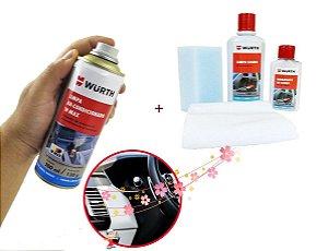 Kit Limpeza e hidratação De Couro Wurth Produto para limpar e hidratar couro dos bancos de carro + Limpa ar condicionado automotivo