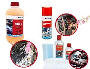 Limpa ar condicionado automotivo + Kit Limpeza e hidratação De Couro + Shampoo Automotivo para carros 1L Wurth