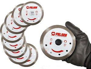 Kit 10 Discos Diamantado Para Cortar Porcelanato Ultra Fino Corte com acabamento Perfeito e exelente rendimento - FELSEN