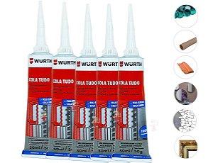 Kit 5 Super Cola Tudo Wurth a base de polimero cola Vidro madeira pedra concreto aluminio ferro e pvc suporta 40kg
