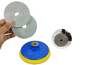 Combo 2 Lixa Diamantada para polir porcelanatos marmores e granitos 100mm polimento cortes 45 graus + suporte
