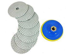 Combo 7 Lixa Diamantada para polir porcelanatos marmores e granitos 100mm polimento cortes 45 graus + suporte