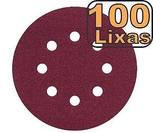 Kit 100 Disco Lixa para madeira metal massa e similares 125mm 8 Furos lixa roto orbital