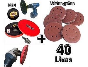 Kit 40 disco de lixa para esmerilhadeira e furadeira com suporte 125mm FELSEN