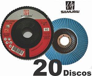 Kit 30 Disco de lixa Flap para lixar madeira ferro e metais de esmerilhadeira 115mm