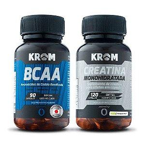 Combo Massa Muscular Creatina + BCAA - Krom Suplementos