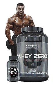 Combo Massa  e Definição Muscular Whey Zero 907g  + BCAA 2500 (120 tabs) - Black Skull