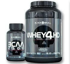 Combo Whey 4HD + BCAA 2500 - Black Skull