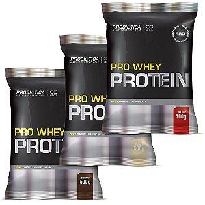 Kit com 3 Pro Whey Protein (500g) - Probiótica