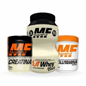 Kit Kutwhey Black 900g, Creatina 300g, Glutamina 300g  Muscle Full (promoção)