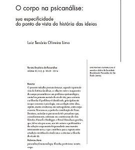 O corpo na psicanálise: sua especificidade do ponto de vista da história das ideias |Autor: Luiz Tenório Oliveira Lima