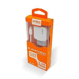 Carregador de Parede Kaidi Micro USB V8 2 Saídas KD-301S