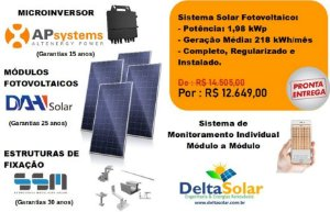 Gerador Solar Fotovoltaico 1980Wp Instalado Pelotas e Região