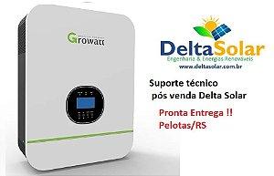 INVERSOR SOLAR OFF GRID GROWATT 3KW Senoidal Pura , Carregador CA com rede concessionária ou gerador, controlador de carga MPPT