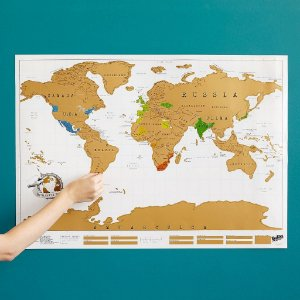 Mapa Mundi Raspável Scratch Map Colorido Colorir Parede