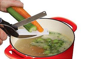 Kit Tesoura Clever Cutter Original e Processador Nicer Dicer Plus Cortador de Alimentos Legumes