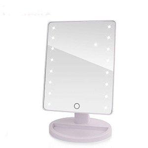 Espelho De Mesa Com Led Para Maquiagem Portátil