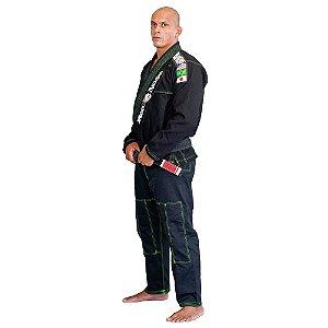 Kimono Red Nose Top World Jiu-Jitsu - Preto/Verde Neon