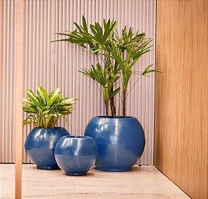 Combo de 3 vasos bola liso azul macaúba