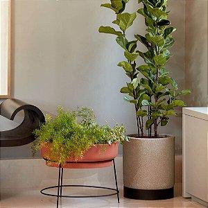 Kit de vaso cumbuca alongada e jardineira redonda