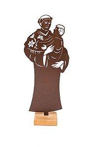 Escultura De Aço Galvanizado Estátua Santo Antônio 45cm