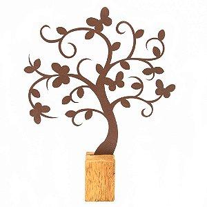 Escultura De Aço Galvanizado Estátua Árvore Borboletas 35cm