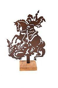 Escultura De Aço Galvanizado Estátua São Jorge 45cm