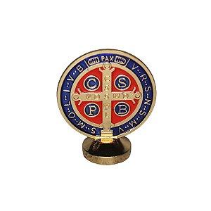 Imagem Mini Medalha São Bento Painel de Carro Metal 6cm