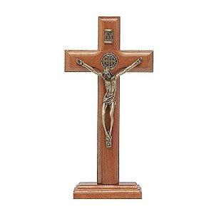 Crucifixo de Mesa com Medalha de São Bento 12 cm