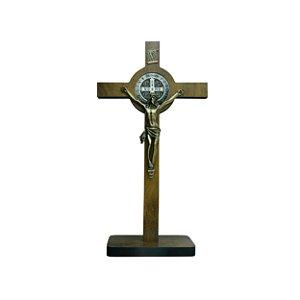 Crucifixo de mesa Madeira c/ Medalha de São Bento 33cm